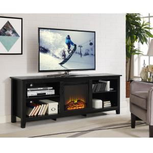 Awesome Walker Edison Furniture Company Essentials Black Fire Place Entertainment  Center HD70FP18BL   The Home Depot
