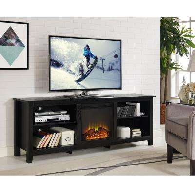 Essentials Black Fire Place Entertainment Center