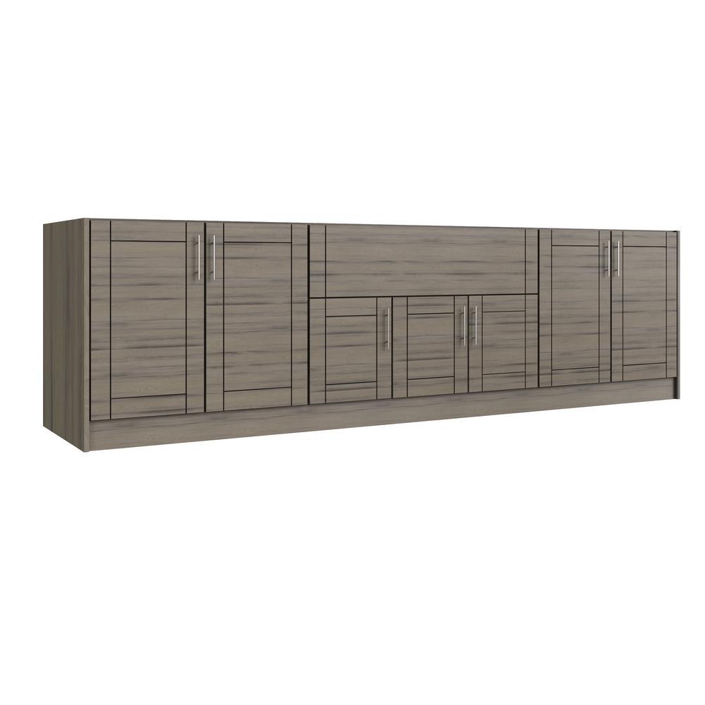 Sanibel Weatherwood 17-Piece 120 in. x 34.5 in. x 27 in. Outdoor Kitchen Cabinet Set