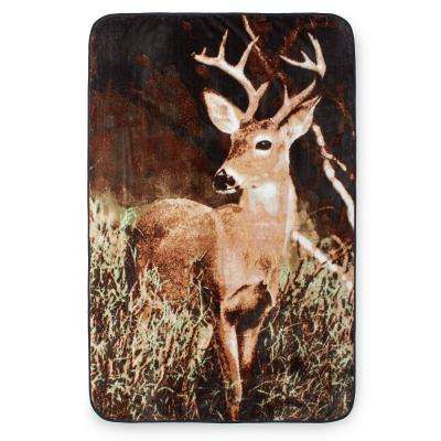 80 in. x 60 in. High Pile Deer Country Raschel Knit Throw