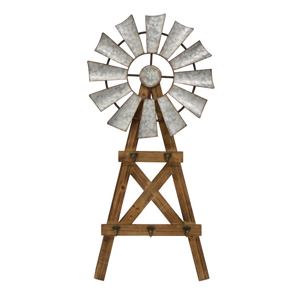 Three Hands Gray Metal Windmill Wall Art