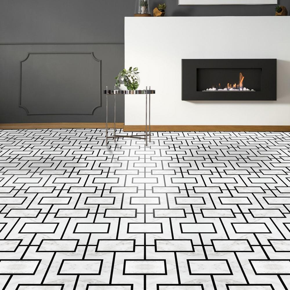 Black Pattern Vinyl Tile Flooring Vinyl Flooring The Home Depot