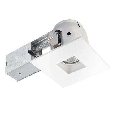 4 in. White LED IC Rated Swivel Spotlight Square Recessed Lighting Kit Dimmable Downlight