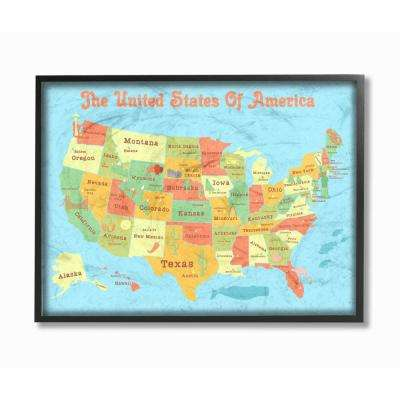 """16 in. x 20 in. """"United States of America USA Kids Map"""" by Daphne Polselli Wood Framed Wall Art"""