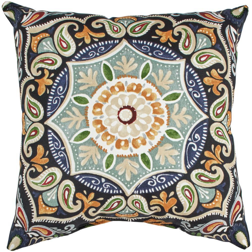 Hampton Bay Fern Medallion Square Outdoor Throw Pillow