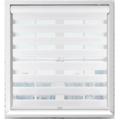 White Cordless Bottom Up Light Filtering Fabric Zebra Roller Shade 33.5 in. W x 60 in. L (Actual Size)