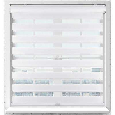 White Cordless Bottom Up Light Filtering Fabric Zebra Roller Shade 34.5 in. W x 60 in. L (Actual Size)