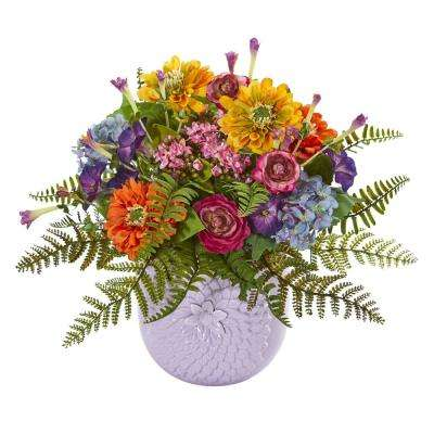 Indoor Mixed Floral Artificial Arrangement in Purple Vase