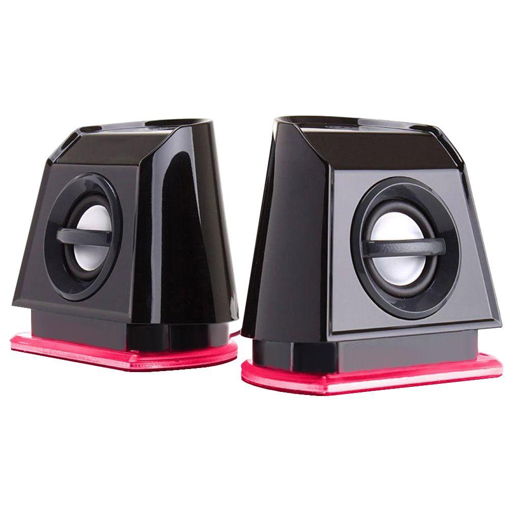 Computer Speakers with Red LED Accents With 9.6-Watt of peak power, the GOgroove BassPULSE 2MX computer speakers let you listen to your music and movies with rich and balanced stereo sound built with dual drivers and enhanced bass technology. This 2.0 channel setup provides a clear and dynamic audio experience. The 2MX speakers are ideal for desks that are limited on space.