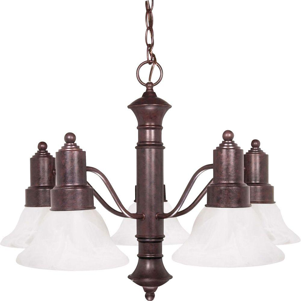 5-Light Old Bronze Incandescent Ceiling Chandelier with Glass Shade