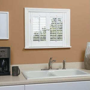 wooden shutters interior home depot homebasics traditional real wood snow interior shutter 26252