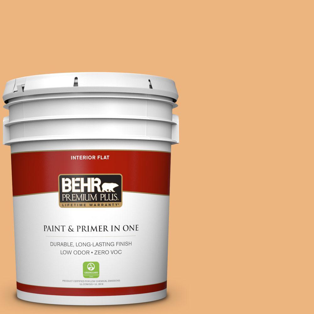 BEHR Premium Plus 5-gal. #ICC-100 Eastern Amber Zero VOC Flat Interior Paint