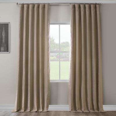 Flax Beige French Linen Curtain - 50 in. W x 120 in. L