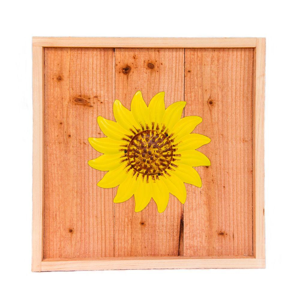 Hollis Wood Products 18 in. x 18 in. Wood Wall Art with Yellow Sunflower