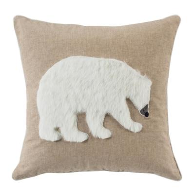 Cubsy Polar Bear Beige and White Animal Print Polyester 20 in. x 20 in. Throw Pillow