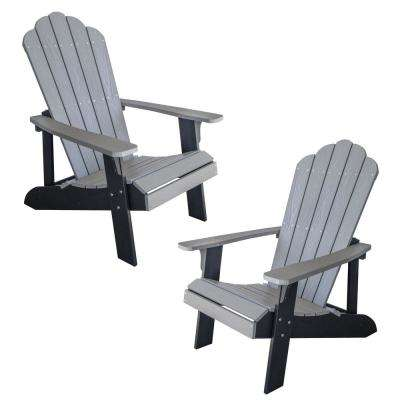 Gray with Black Accents 2-Tone Outdoor Adirondack Chair with Durable Faux Wood Construction (2-Piece Set)