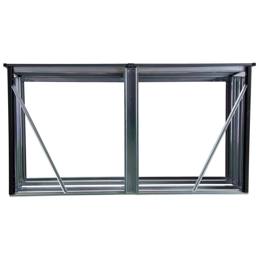 Arrow 8 ft. W x 2 ft. D x 4 ft. H Arrow Galvanized Steel Firewood Rack in Anthracite with Fire-Rated Fabric and Pent Roof