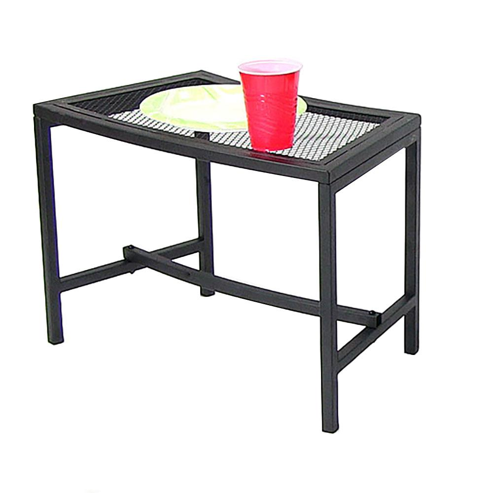 Sunnydaze Decor Black Mesh Metal Patio Side Table 1