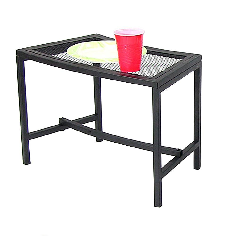 Black Mesh Metal Patio Side Table - 1 Table