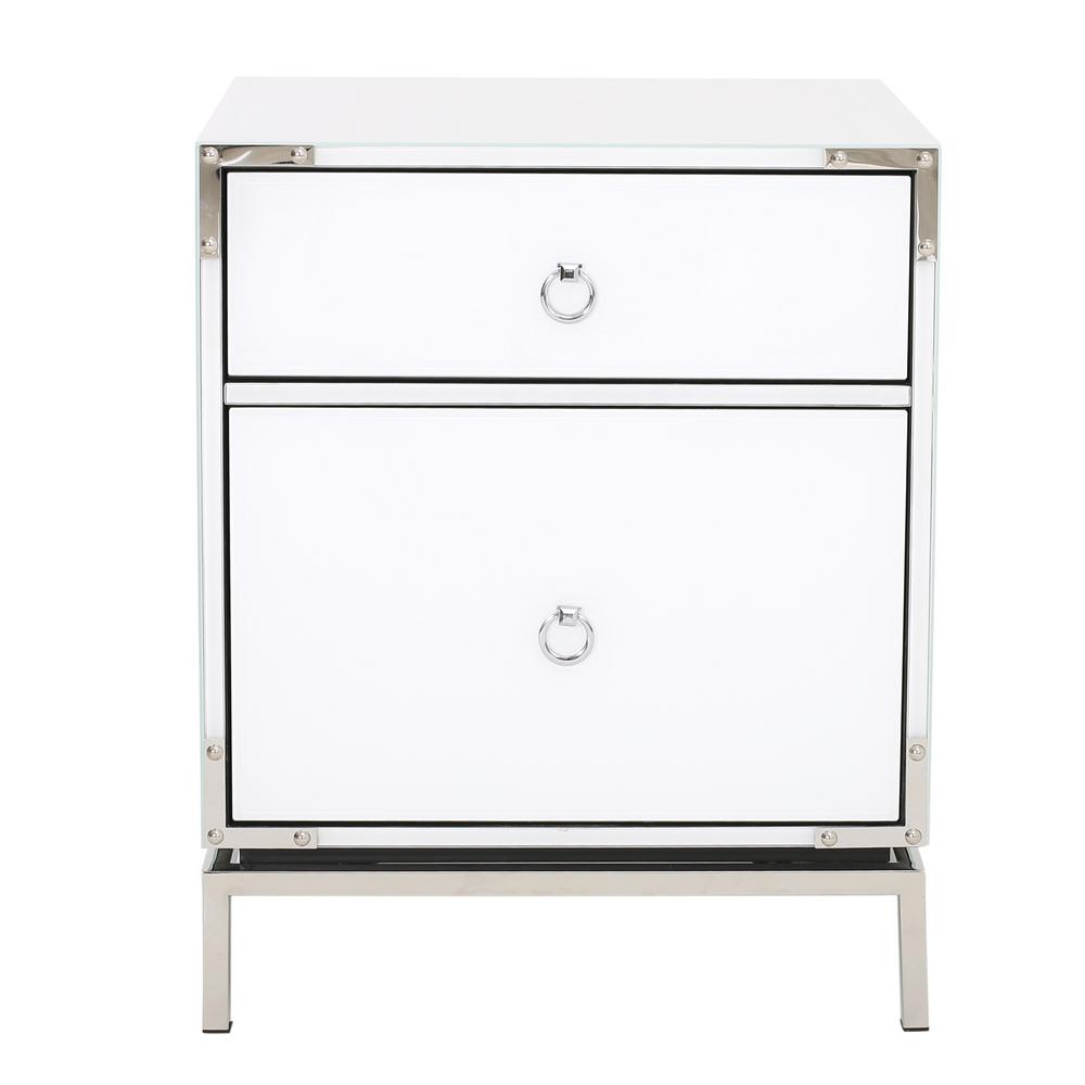 Noble House Daphney White Glass 2 Drawer Bedside Table With Silver