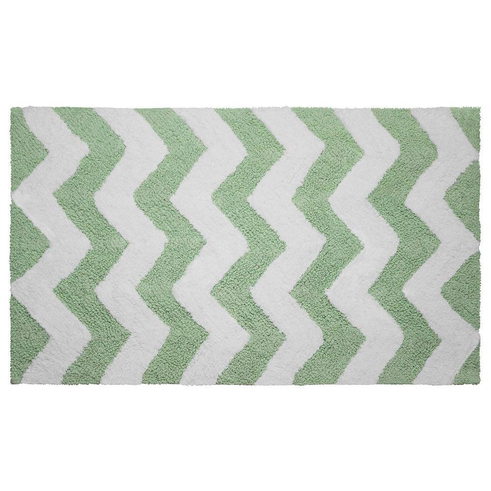 Reversible Cotton Soft Zigzag Mint 21 in. x 34 in. Bath Mat