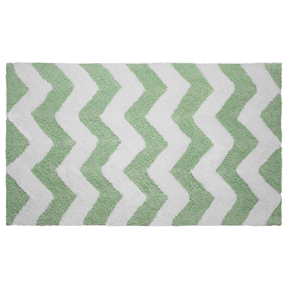 Reversible Cotton Soft Zigzag Mint 21 in. x 34 in. Bath