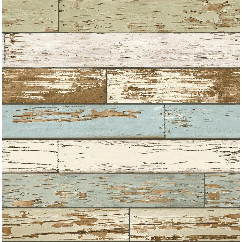Brewster Brewster 56.4 sq. ft. Levi Green Scrap Wood Wallpaper, Sky Blue