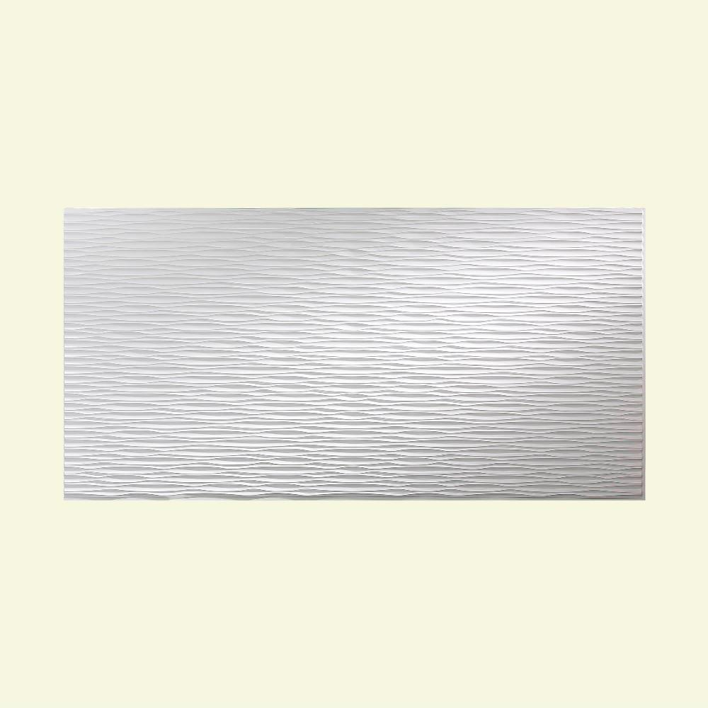 Fasade Dunes Horizontal 96 in. x 48 in. Decorative Wall Panel in Gloss White