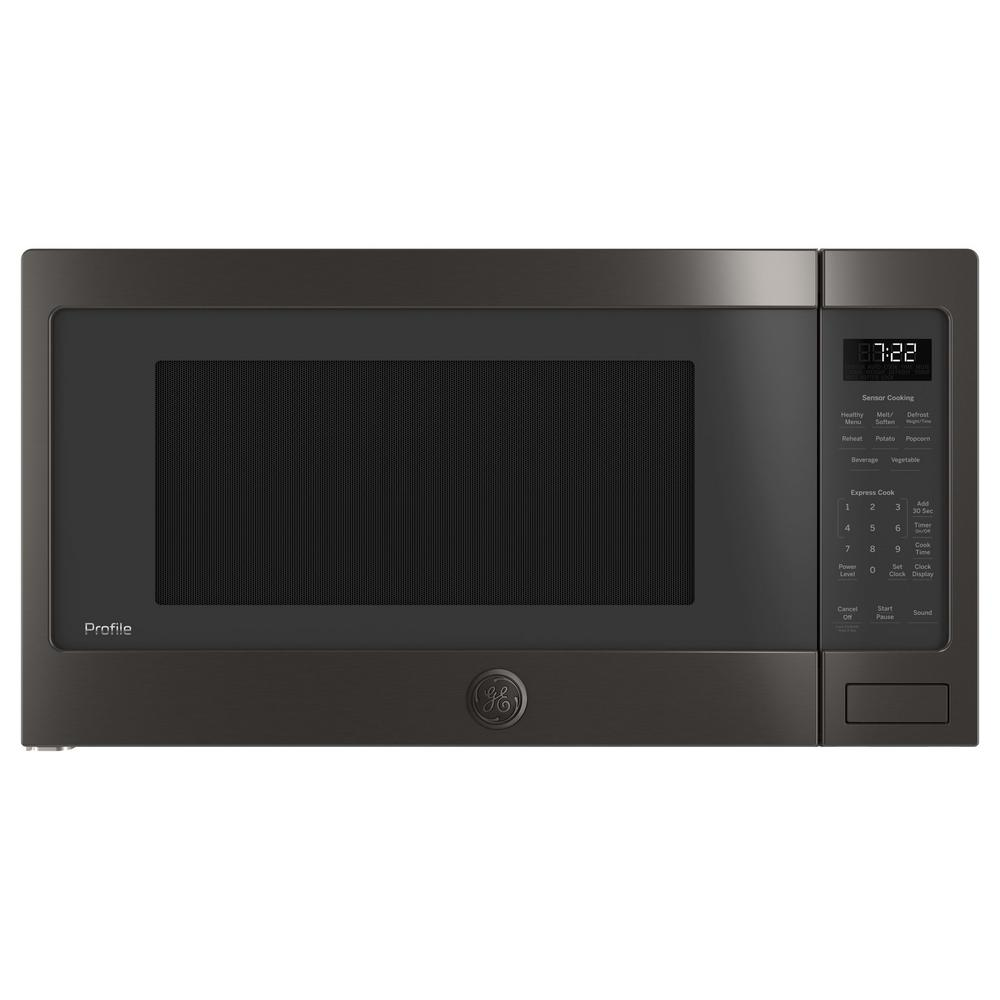 Ge Profile 2 Cu Ft Countertop Microwave In Black Stainless Steel With Sensor Cooking