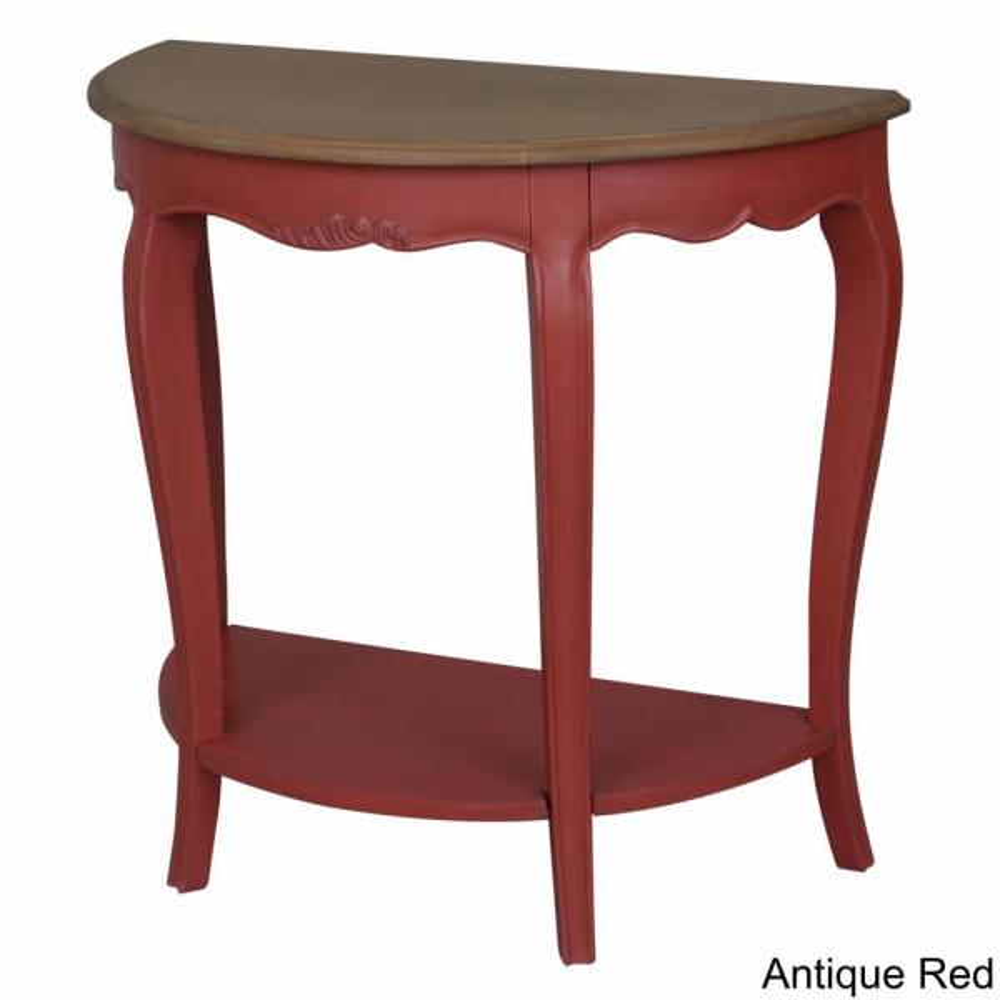 Ashbury Altesse Dark Oak Veneer and Antique Red Half-Moon Console Table