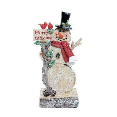 10 in. T Alpine Snowman with Greeting Sign