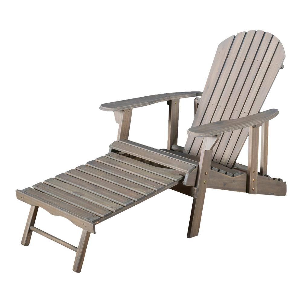 Noble House Hayle Grey Reclining Wood Adirondack Chair