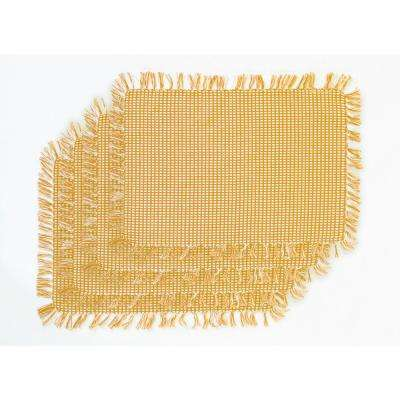 Homespun Fringed Gold 100% Cotton Placemat (Set of 4)