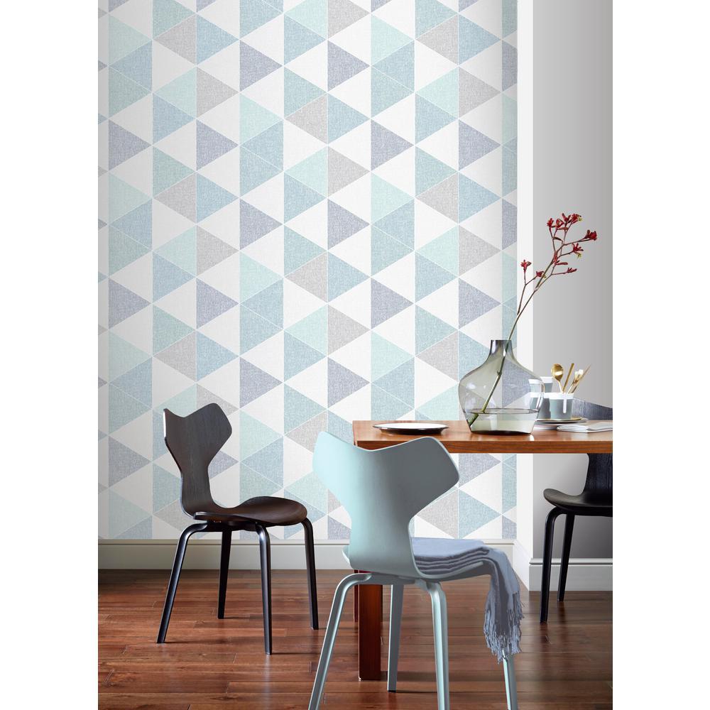 Scandi Triangle Teal Wallpaper