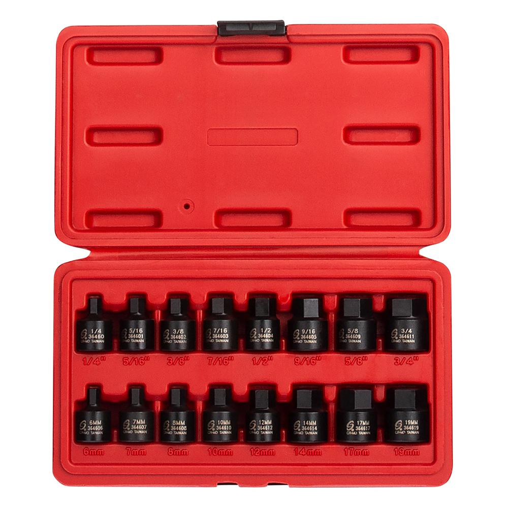 6mm Sunex 3646 3//8 Drive Stubby Impact Hex Driver SAE and Metric Set 19 Inch//Metric 6-Point 1//4 3//4 16-Piece Cr-Mo