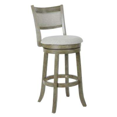 Swivel Stool 30 in. Antique Grey with Solid Back