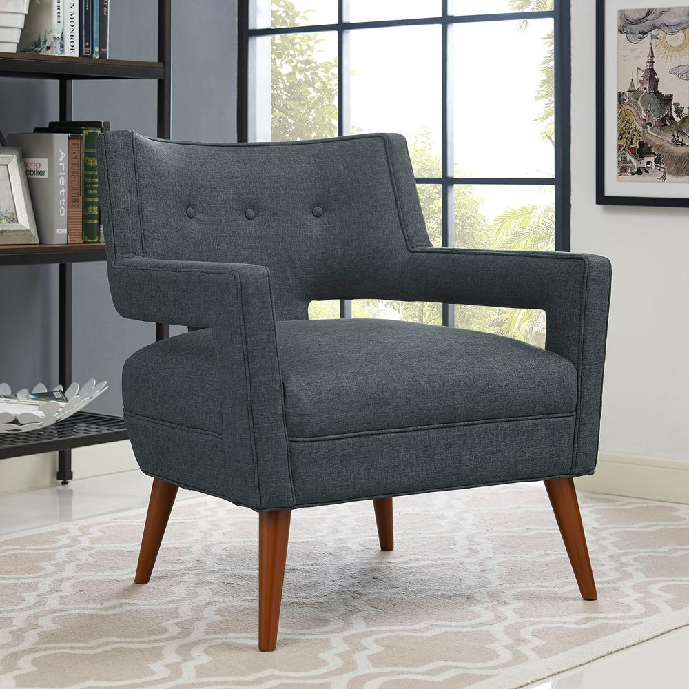 MODWAY Sheer Gray Upholstered Fabric Armchair-EEI-2142-GRY