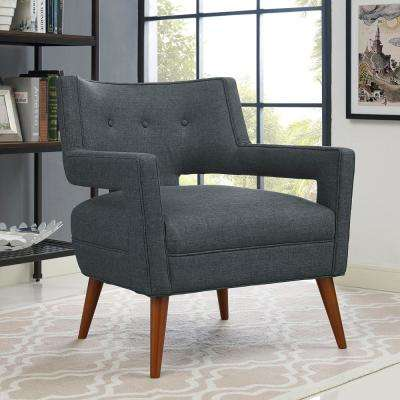 Sheer Gray Upholstered Fabric Armchair