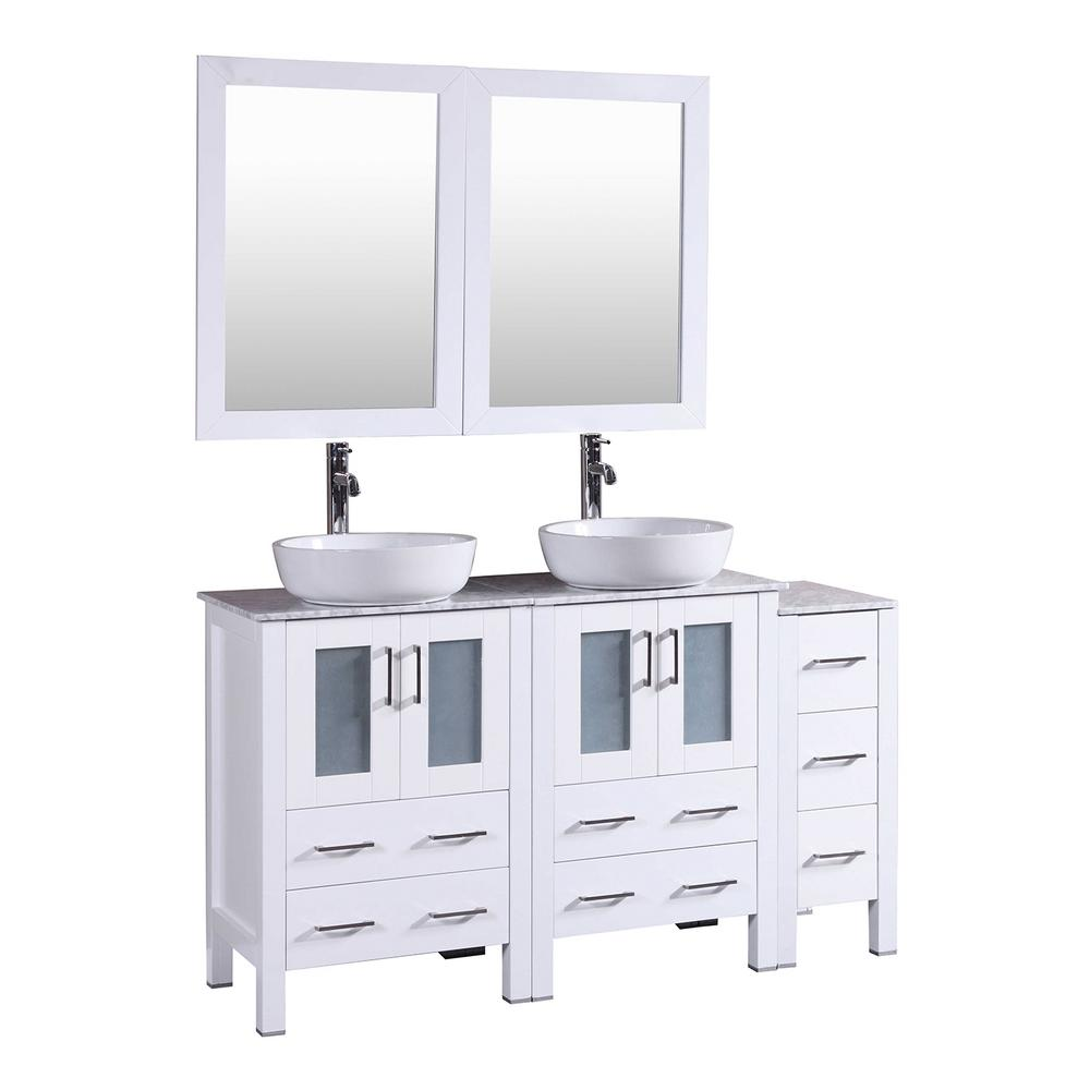 Bosconi 60 in. W Double Bath Vanity in White with Carrara Marble Vanity Top with White Basin and Mirror