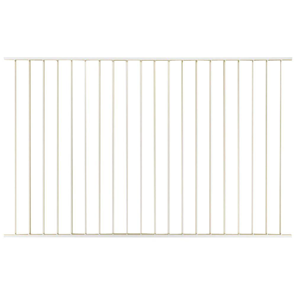 First Alert Premium Series 5 ft. H x 8 ft. W ft White Galvanized Steel 2-Rail Fence Panel