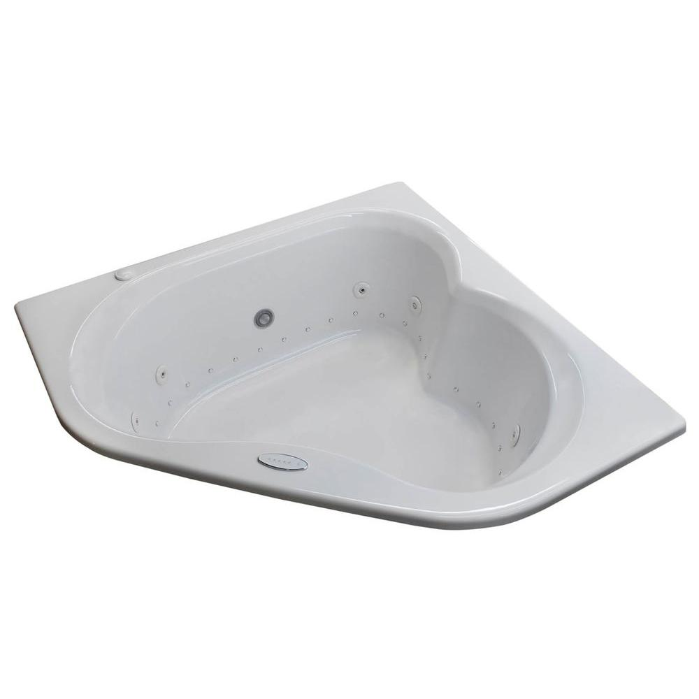 Universal Tubs Beryl 5 Ft. Acrylic Corner Drop In Whirlpool Air Bathtub In  White