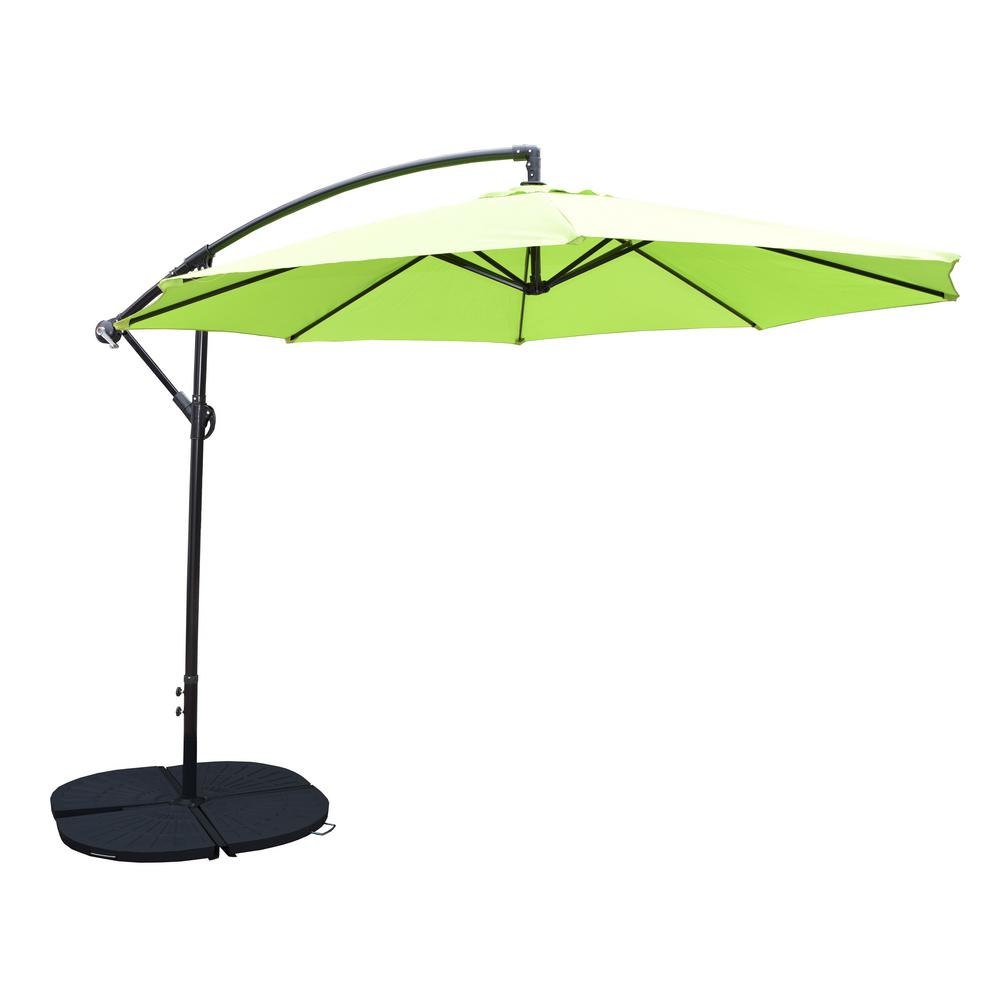 Cantilever Umbrella With 4 Casted Polyresin Heavy Duty Weights