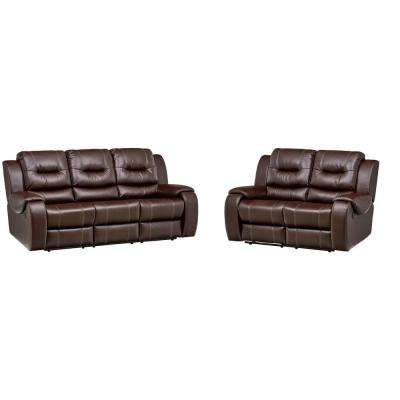 Clark 2-Piece Umber Sofa, Loveseat Living Room Set