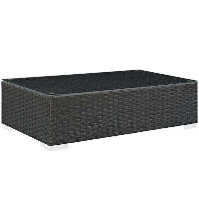 Sojourn Patio Wicker Outdoor Coffee Table in Chocolate