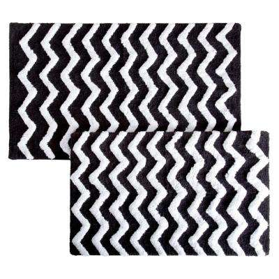 Chevron Black 24.5 in. x 41 in. 2-Piece Bathroom Mat Set