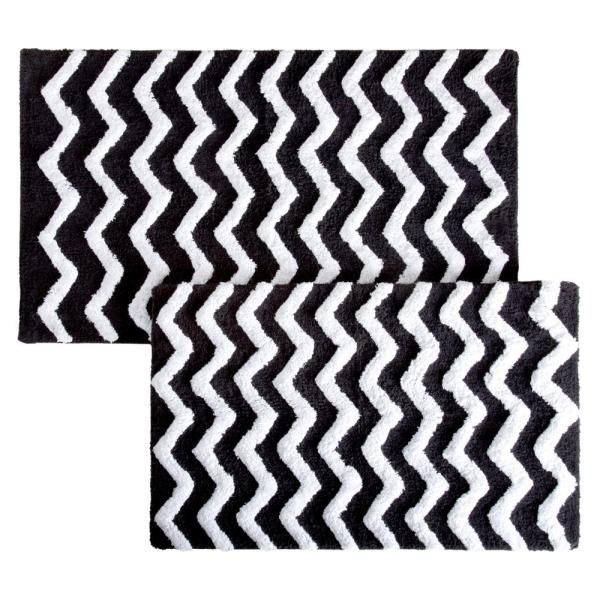 Lavish Home Chevron Black 24 5 In X 41