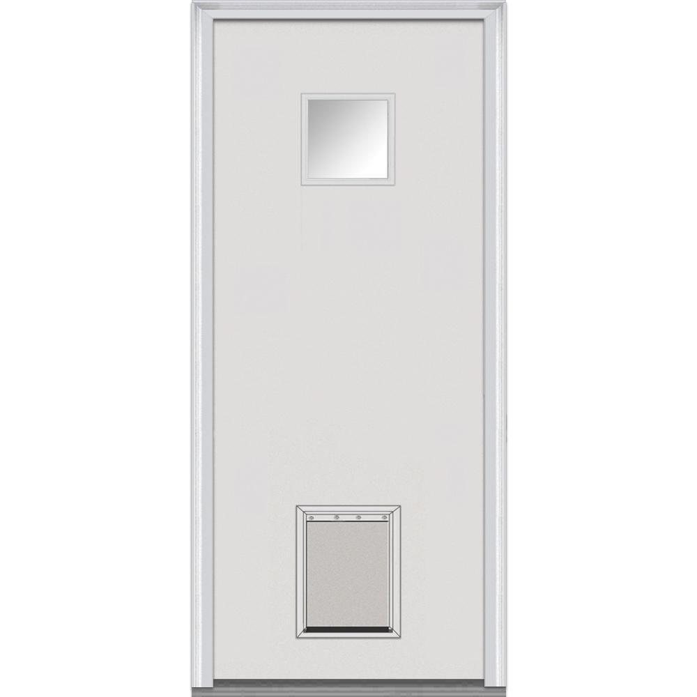 MMI Door 30 in. x 80 in. Classic Left-Hand Inswing 1/4-Lite Clear Primed Fiberglass Smooth Prehung Front Door with Pet Door