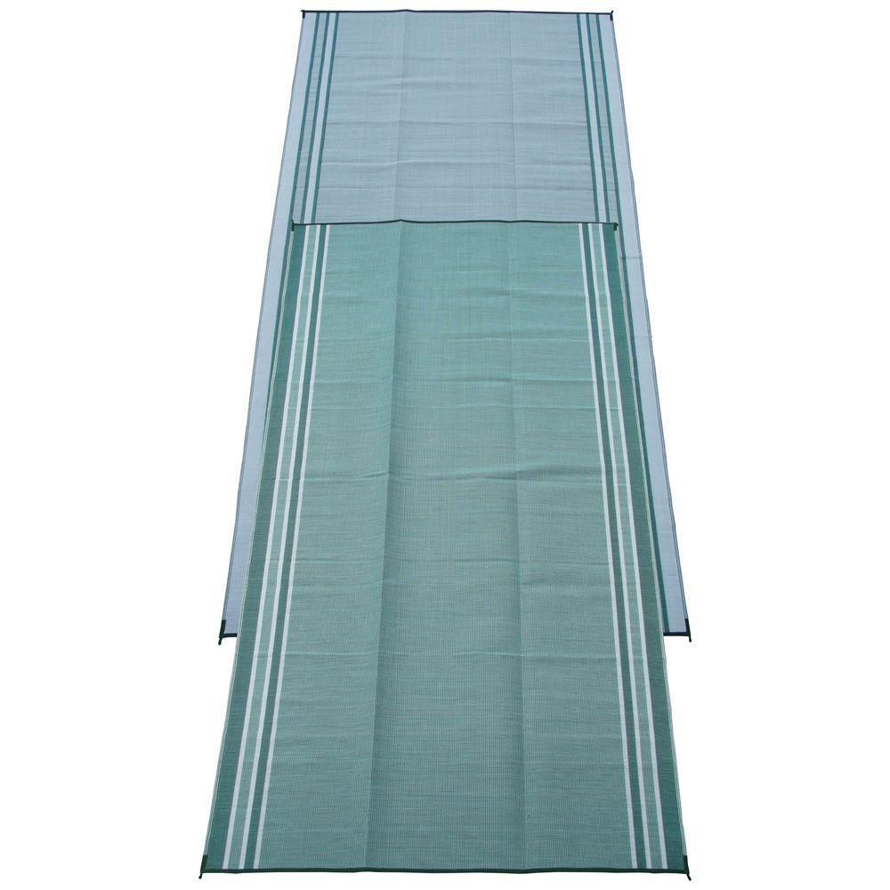 Mossy Teal Green 9 ft. x 18 ft. Polypropylene Indoor/Outdoor Reversible Patio/RV Mat