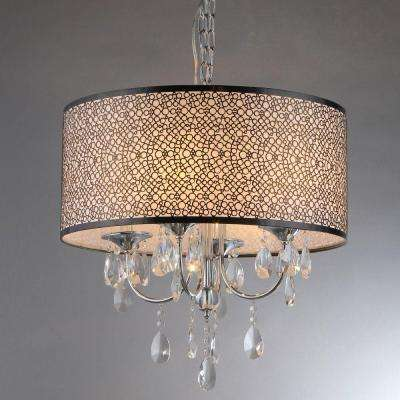 Lush 3-Light Chrome Chandelier with Shade