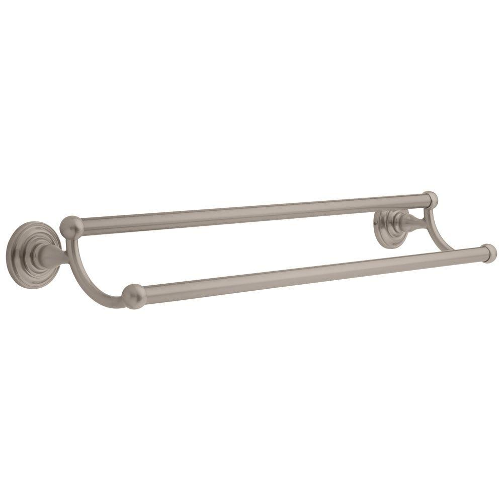 24 In Double Towel Bar Brushed Nickel Curved Rail Rod Holder Bathroom Wall Mount